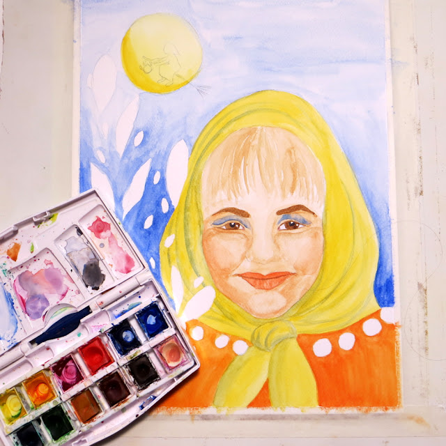 Easter witch tradition in Finland and watercolor painting process.