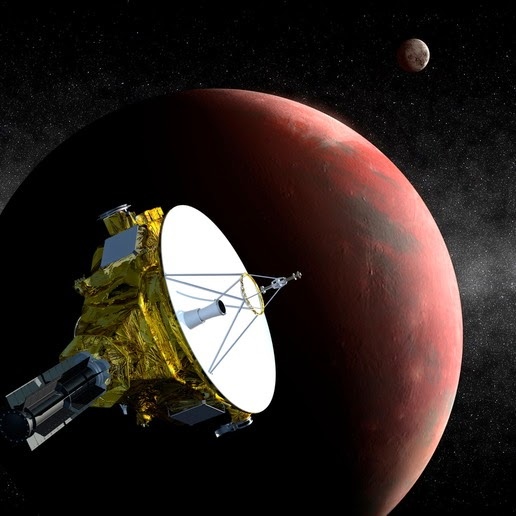 Illustration of Pluto and New Horizons spacecraft