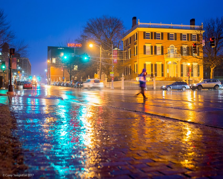 Portland, Maine USA March 2017 photo by Corey Templeton of an almost springlike rainy evening from the corner of High and Spring Streets.