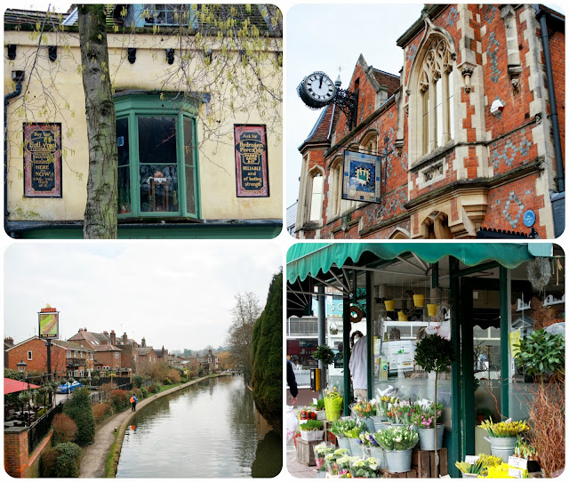 Some of the sights around Berkhamsted - the canal, the town hall, old advertising and the local florist