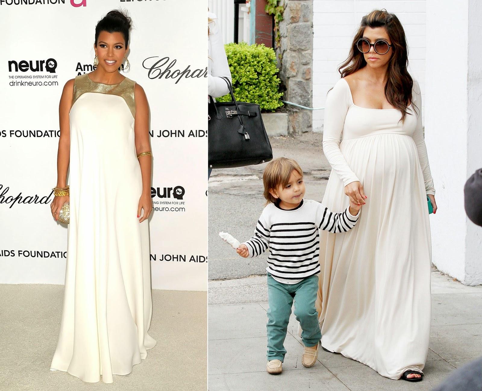 vestido de festa gravida Kourtney Kardashian