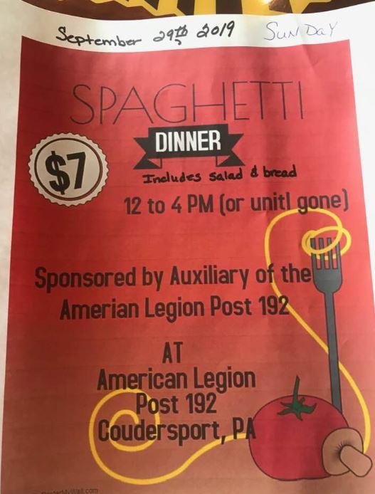 9-29 Spaghetti Dinner, American Legion, Coudersport