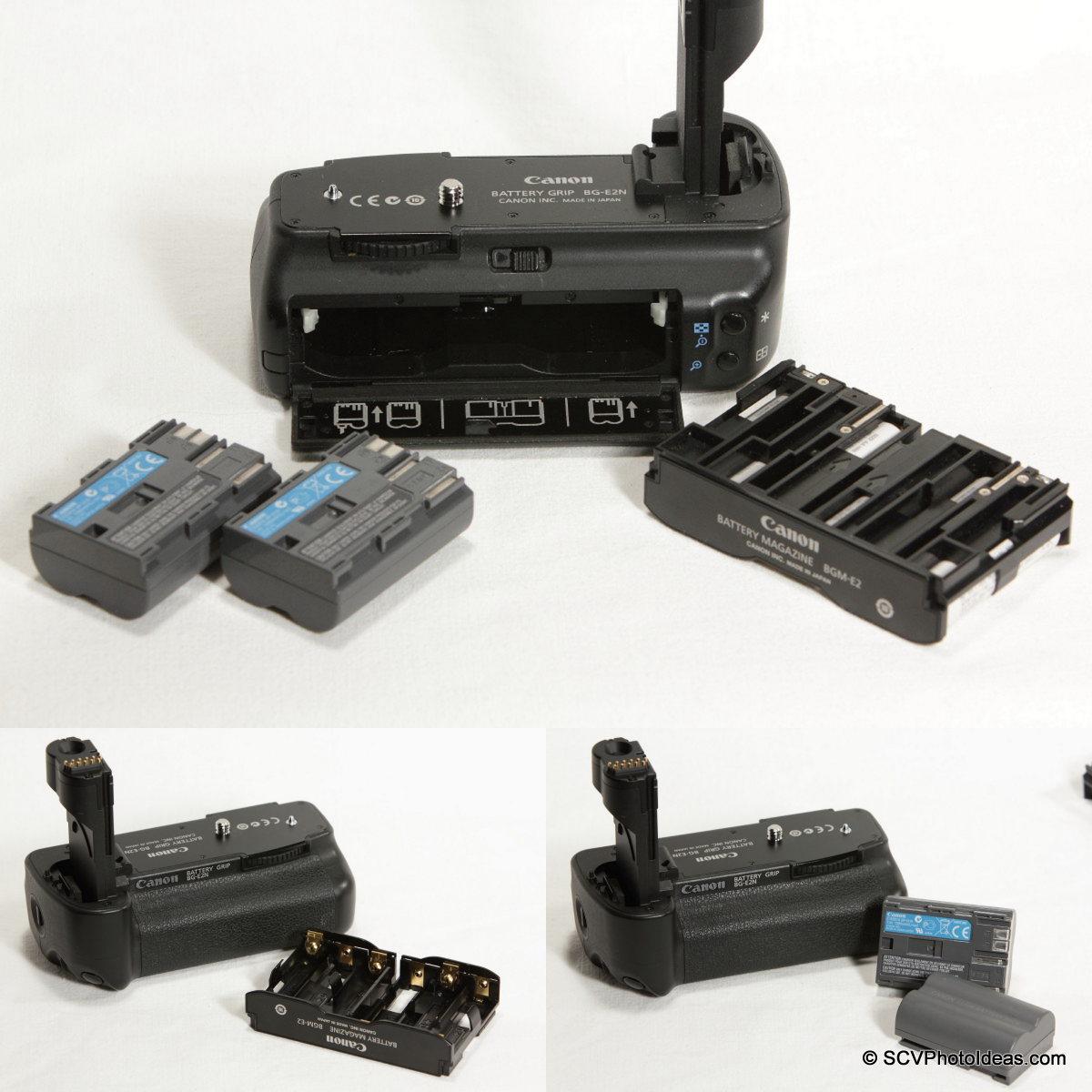 Canon BG-E2N Battery Grip battery options