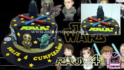 tarta personalizada de fondant impresión comestible darth vader star wars laia's cupcakes puerto sagunto