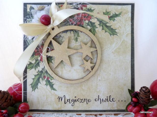 bożonarodzeniowa kartka z bombką