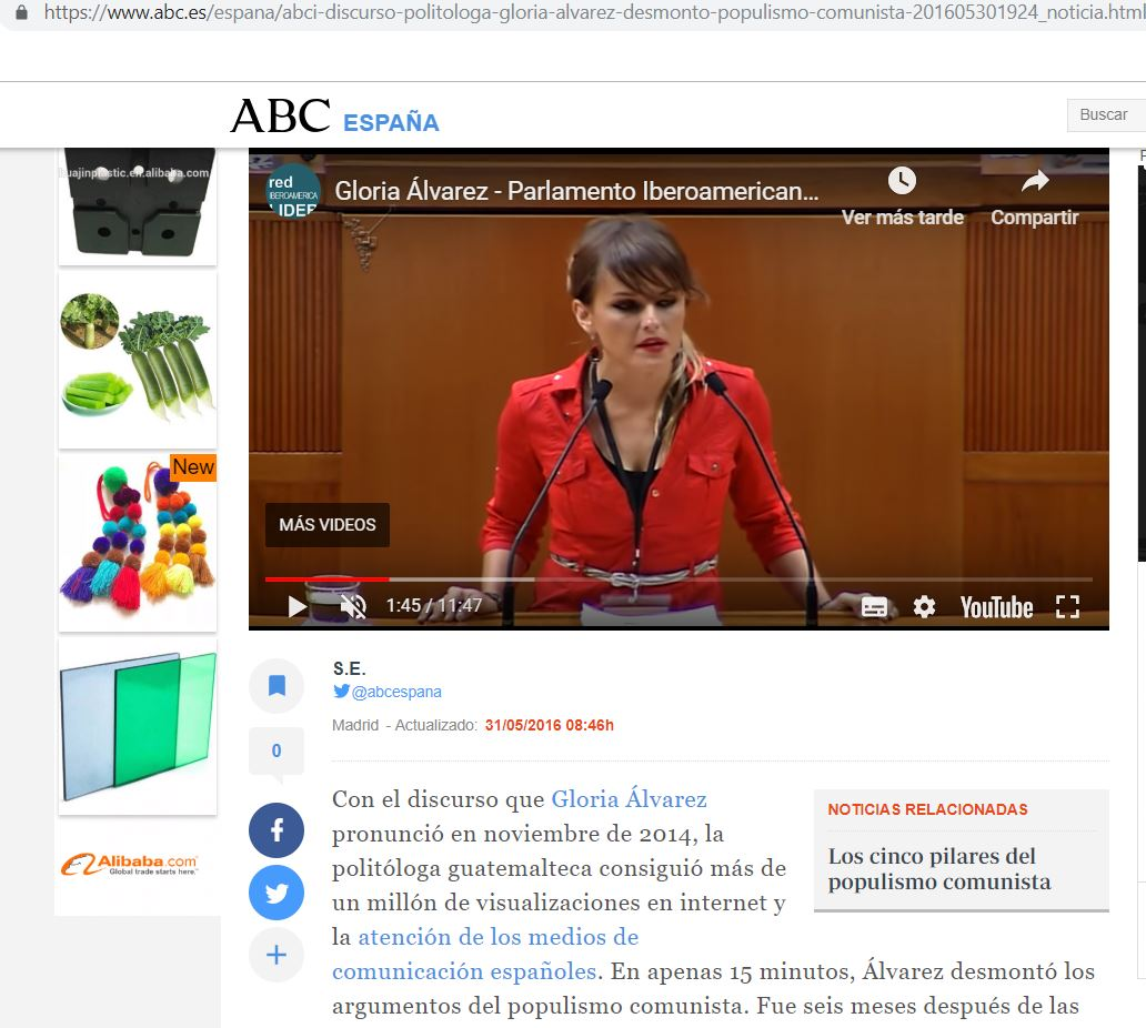 En el artículo publicado el 2016 05 31  El discurso con el que la  politóloga Gloria Álvarez desmontó el populismo comunista se realiza  presenta el discurso ... 1c81d21c1cf64