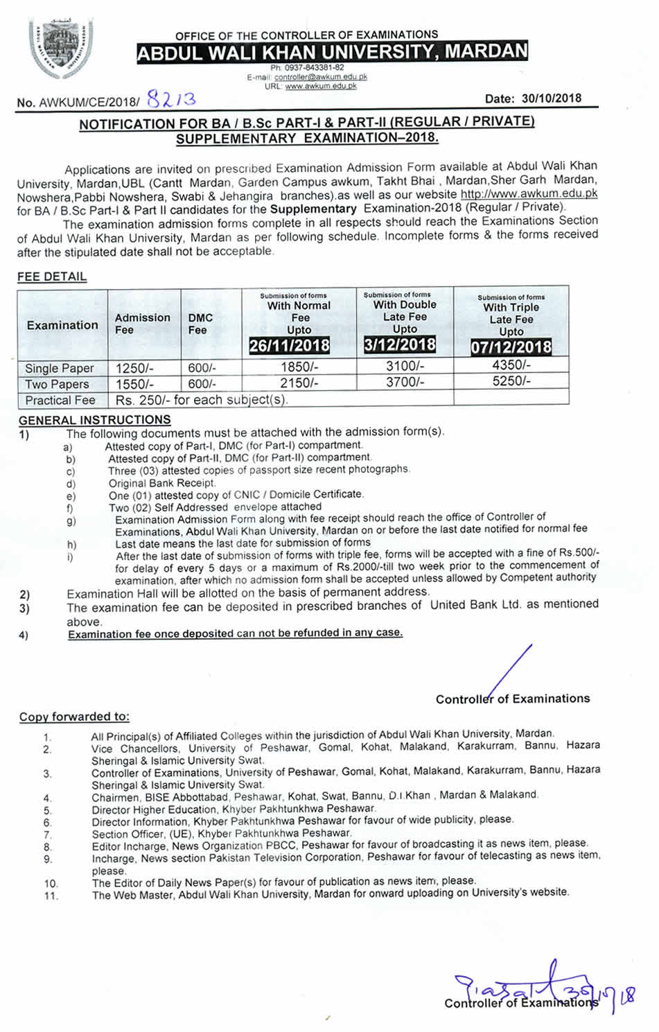 Abdul Wali Khan University Mardan: Notification For BA / B