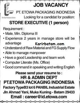 Lowongan Kerja PT Etowa Packaging Indonesia