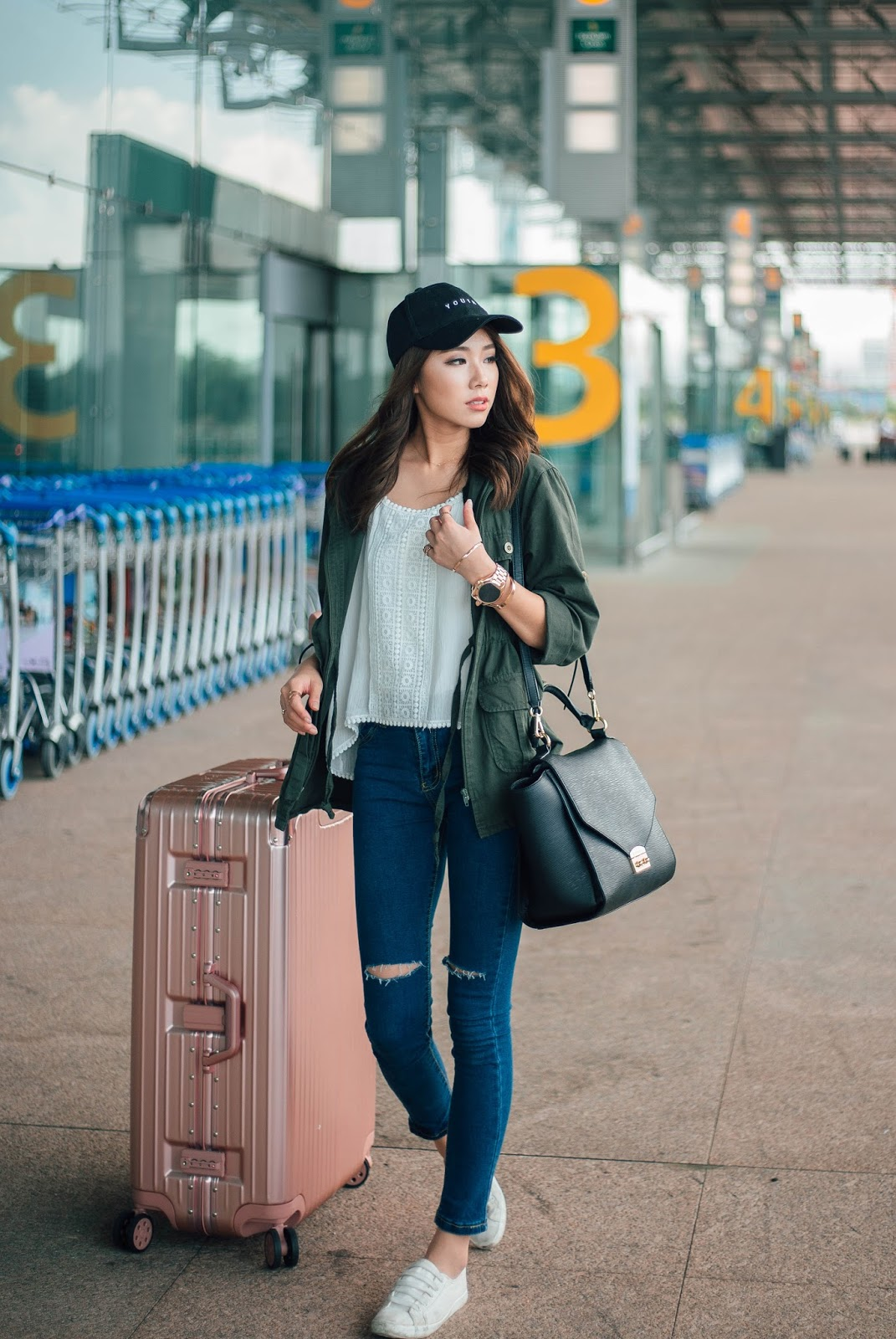travel watch, michael kors, rose gold, parka, sneakers, asian, singapore style