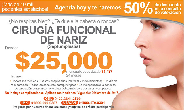 Precio Paquete Cirugia Funcional Nariz Cornetes Tabique Septumplastia Guadalajara Mexico