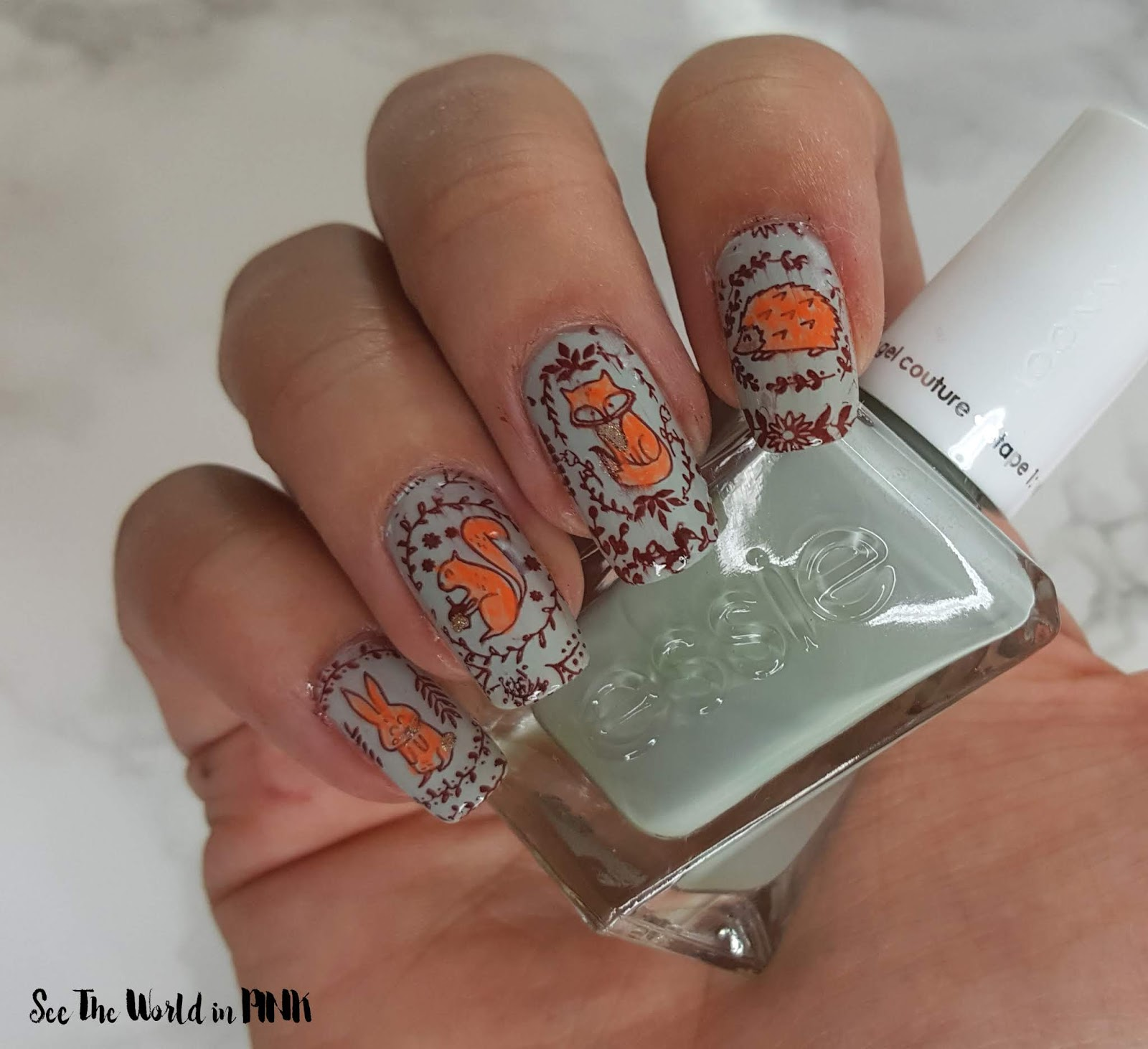Manicure Monday - Fall Forest Friends Stamped Nail Art