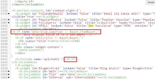 Blogger eklentisini(widget) sadece yayın sayfalarında gösterme