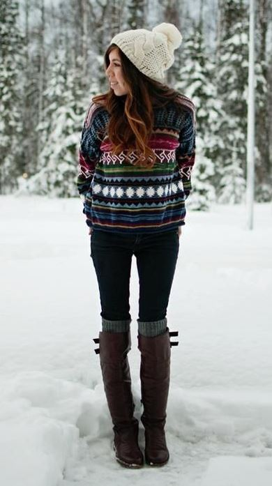 Cute Outfit_knit hat + sweater + skinnies + over knee socks + boots