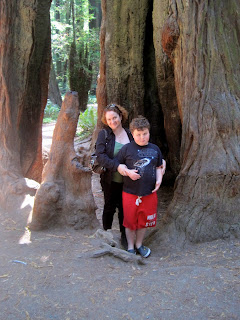 Me and Leo in front of a giant redwood tree