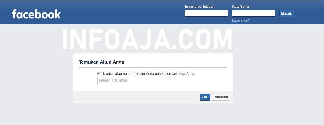 Halaman Reset Facebook