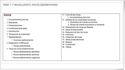 Unidad Rocas sedimentarias Biología y Geología de 1º de Bachillerato
