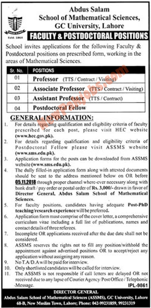 Govt College GC University Lahore Announced Latest Vacancies 2018
