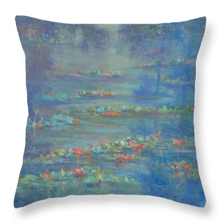 monet style water lilies throw pillow home deocr contemporary