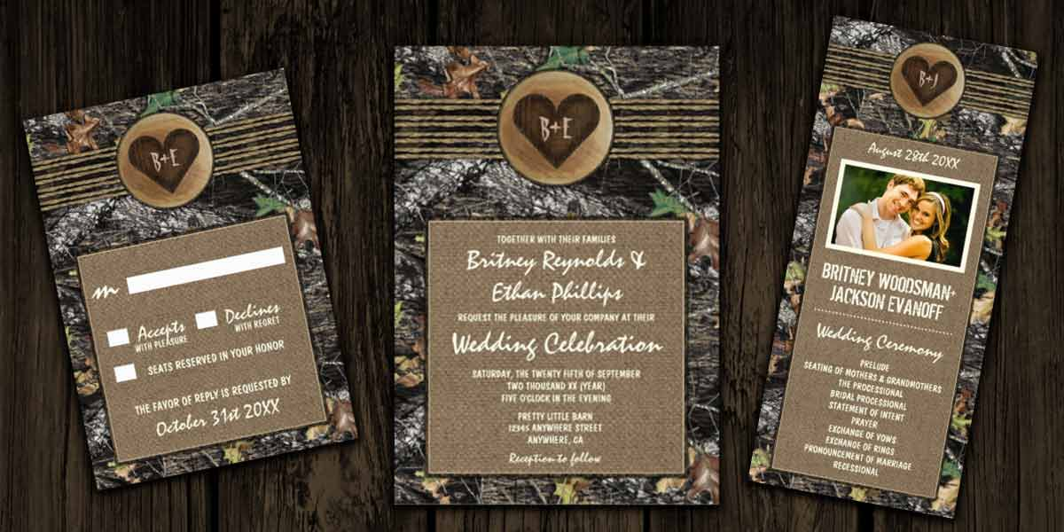wedding invitation themes camo wedding invitations, Wedding invitations