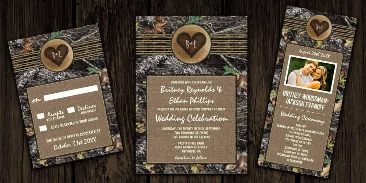 Wedding Invitation Themes Camo Invitations