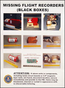A poster depicting a plane's black boxes
