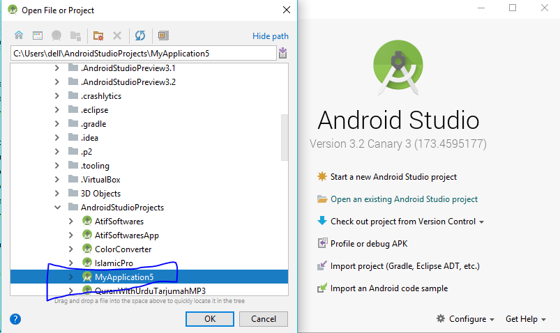 How to open existing project in android studio?