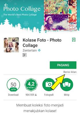 Aplikasi yang mengandung iklan