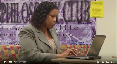 still image from news story, featuring student Felcia Melton