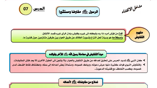 دروس و ملخصات الأولى باكالوريا التربية الإسلامية:درس  الرسول صلى الله عليه وسلم مفاوضا ومستشيرا