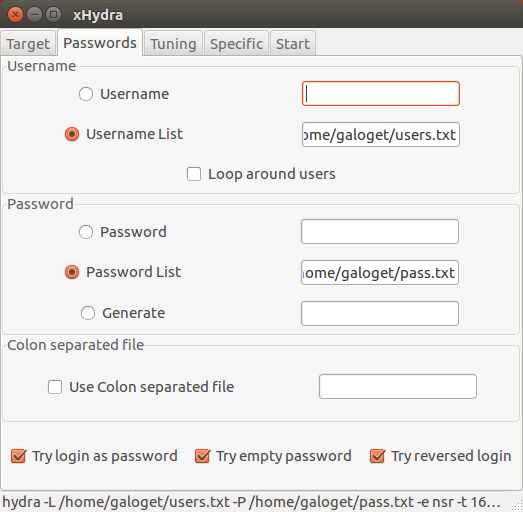 Cracking Passwords: Brute-force Attack with Hydra (CLI) + xHydra