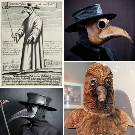 Traje medieval médico Peste Negra Bubonica mascara bico passaro