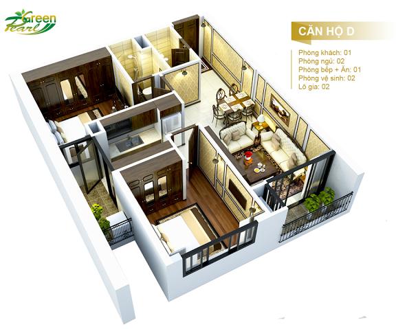 Mặt bằng căn hộ D chung cư Green Pearl Minh Khai