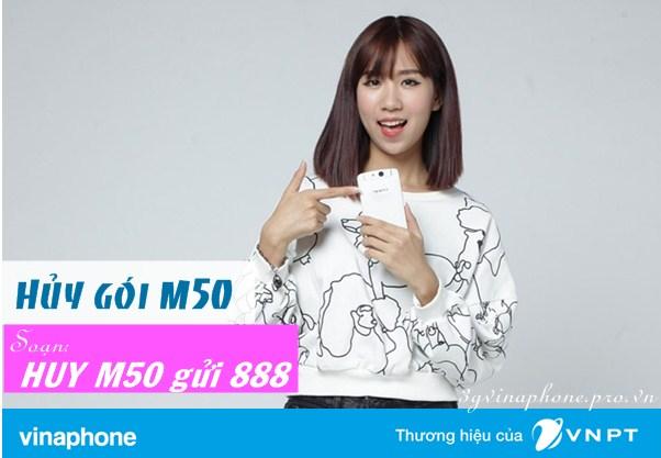 Cú pháp hủy gói cước M50 Vinaphone trên điện thoại