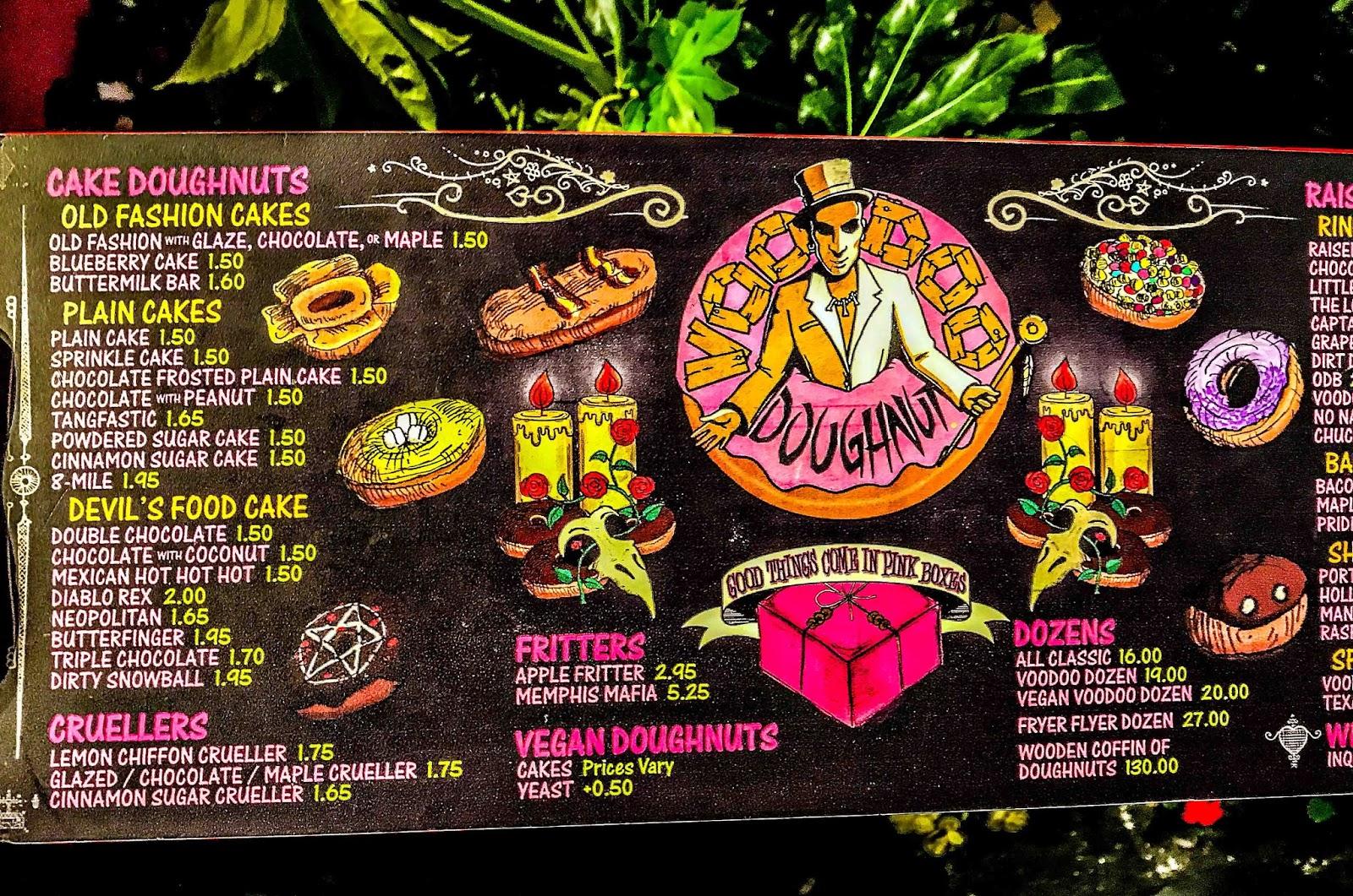 Voodoo Doughnuts Menu