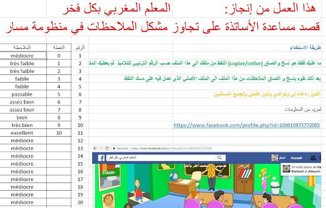 اضافة الملاحظات باللغة الفرنسية  و العربية على مسار