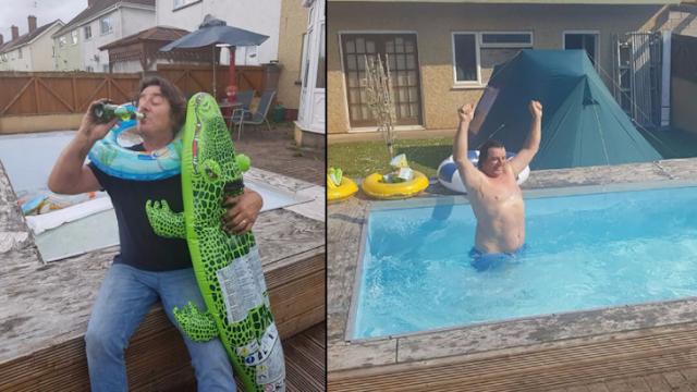 Padre borracho hace un hoyo con sus amigos.. lo hace alberca