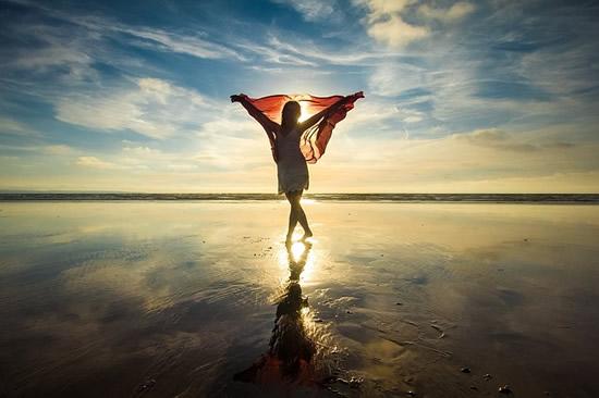 Woman Ocean Sky Sun Water
