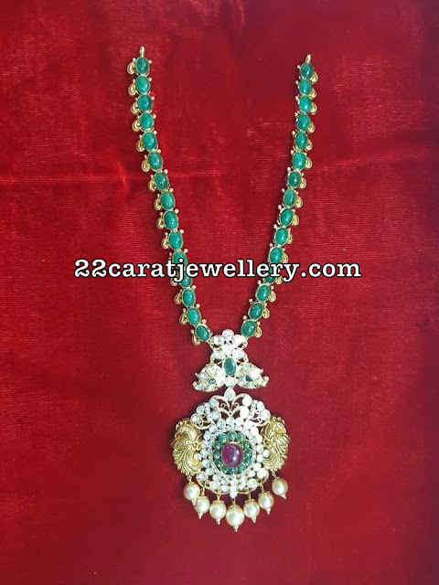 Emerald Flat Diamonds Pachi Work Necklaces