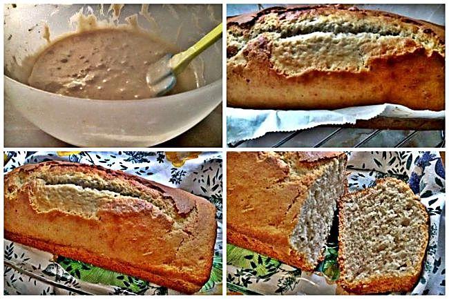 Preparación del bizcocho sin gluten de plátano