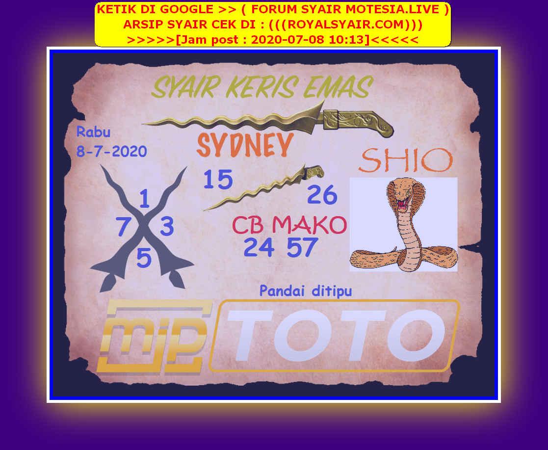 Kode syair Sydney Rabu 8 Juli 2020 79