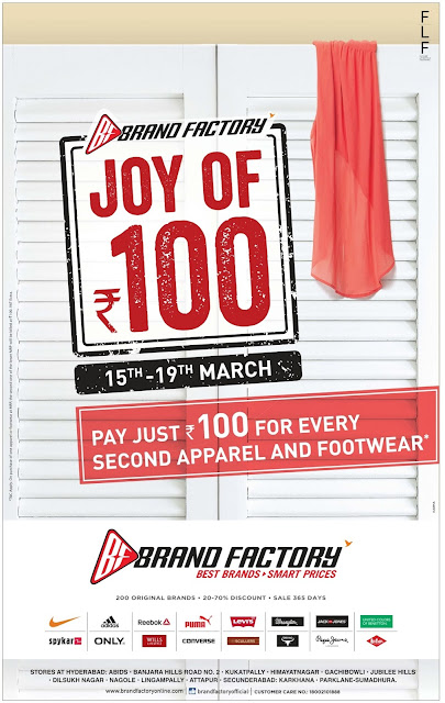 Brand Factory - Joy of Rs 100 Offer | March 2017 Ugadi festival offers