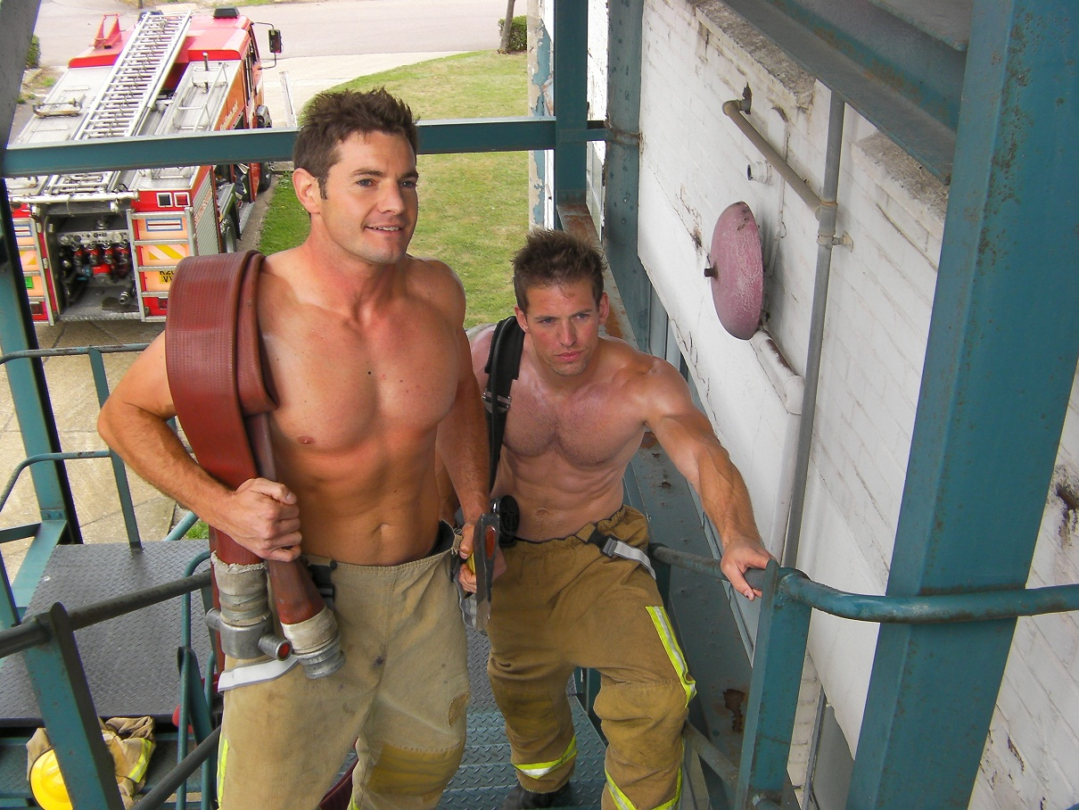 Nude male firemen have gay sex with male