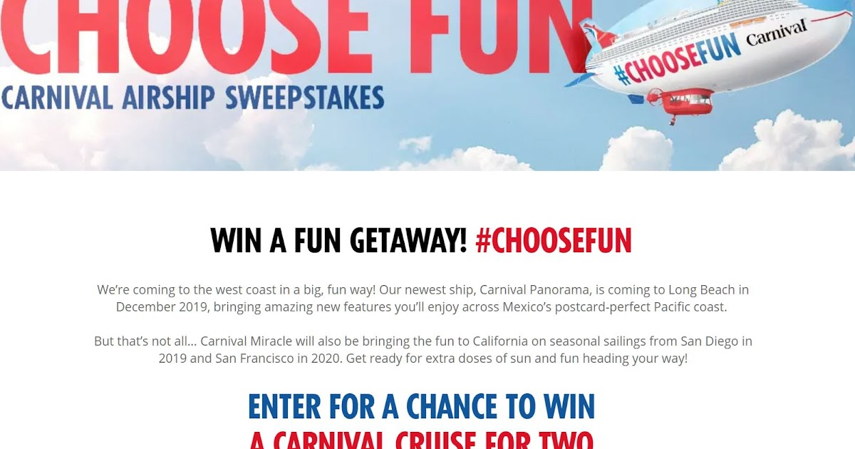 Carnival Cruises Gift Card Giveaway - 51 Winners Win a $50
