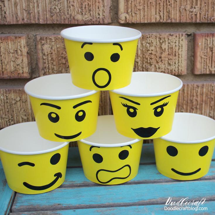 Doodlecraft: LEGO Paper Cup Faces Party Favors