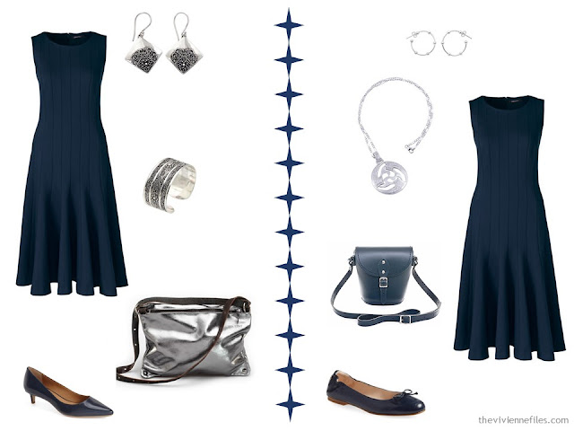 Two ways to wear a navy dress with silver accessories
