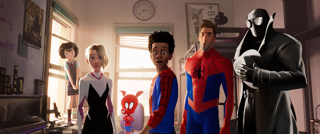 Miles Morales (Shameik Moore), Peter Parker (Jake Johnson), and Spider-Man Noir (Nicolas Cage) in 'Spider Man: Into the Spider-Verse.'