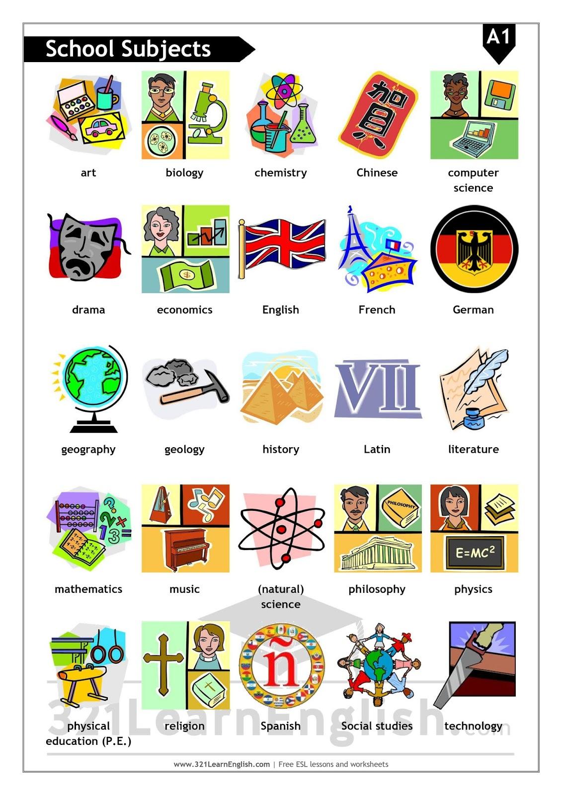 321 Learn English Esl Vocabulary School Subjects