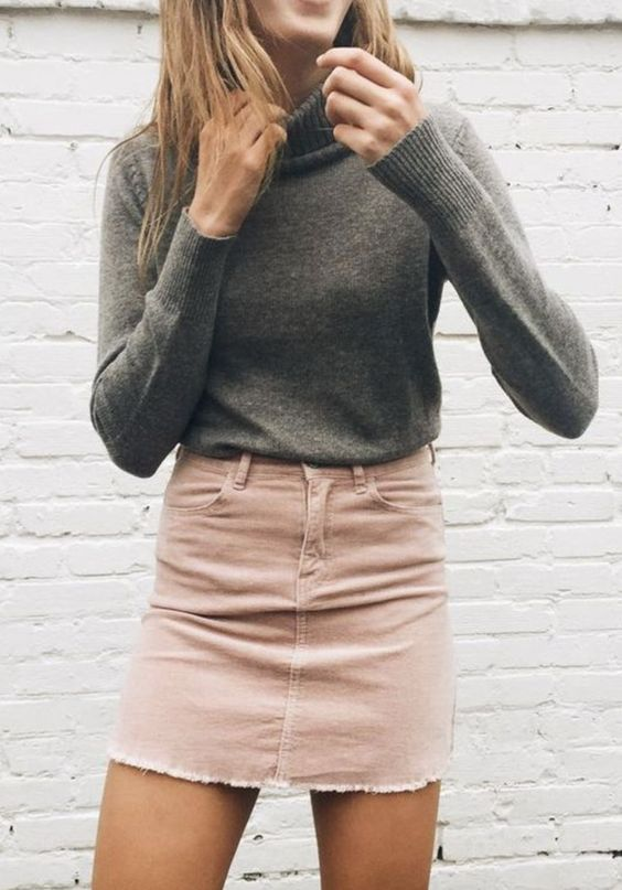 34c56a1188 Street style   Turtle neck grey sweater with pastel pink denim skirt ...