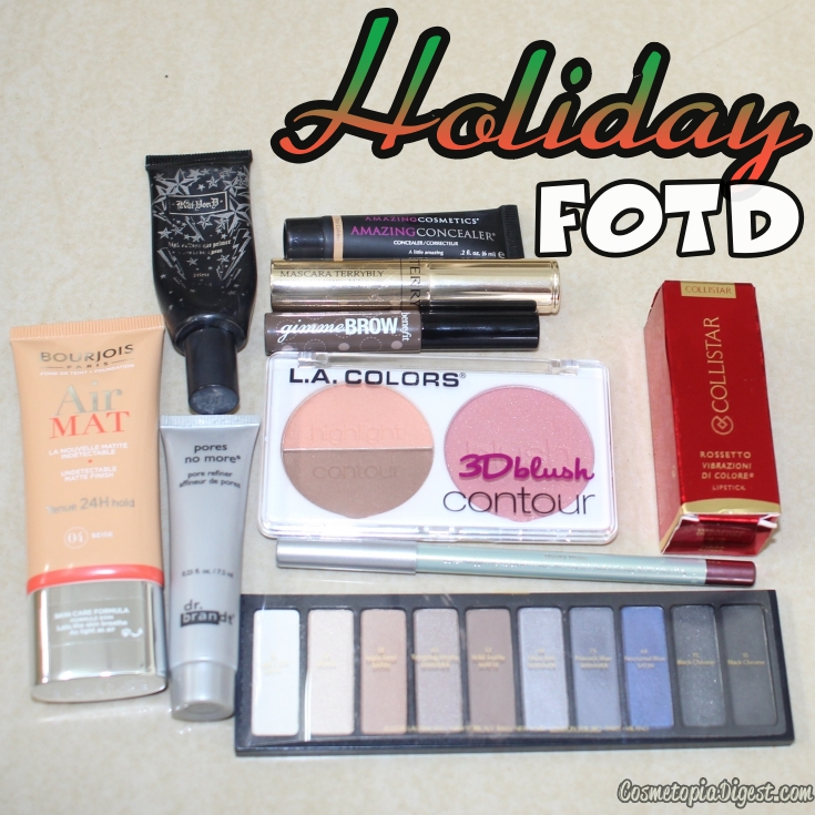 My Holiday makeup look, featuring bold lipstick, Bourjois Air Mat Foundation and Estee Lauder Colour Portfolio 2015.