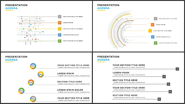 Table of Contents for Free PowerPoint Template using Colored Line Design